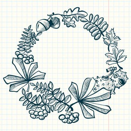 oak wreath: Doodle fall season wreath with leaves