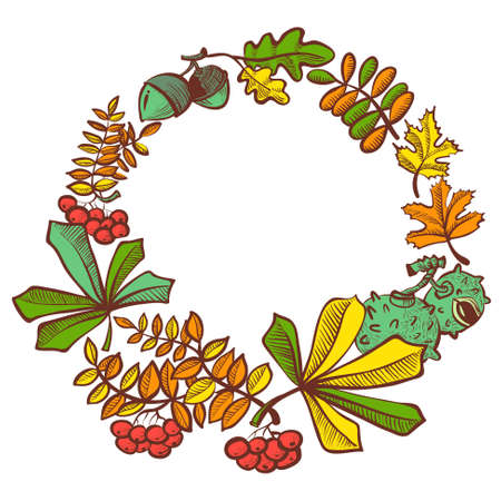 rowan: Fall season wreath with leaves