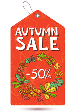 Autumn season shopping sale tag Vector
