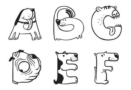 Perros Lindo dibujo alfabeto de la A a la F Foto de archivo - 31279124