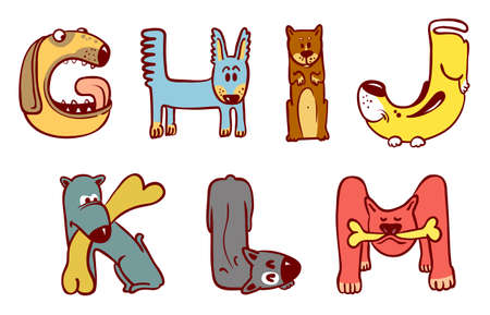 Cute doodle dogs alphabet from G to M Vector