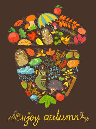rowan tree: Enjoy autumn card with acorn shape