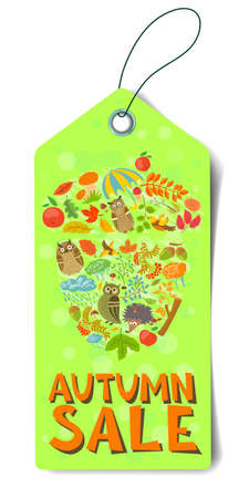 Shopping autumn sale tag with acorn shape Vector