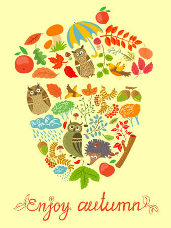 Enjoy autumn card with acorn shape Vector