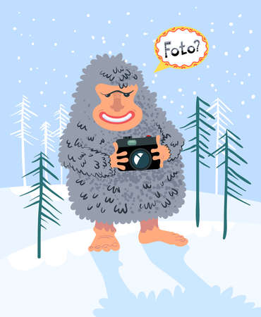 Winter card with yeti photographer Vector