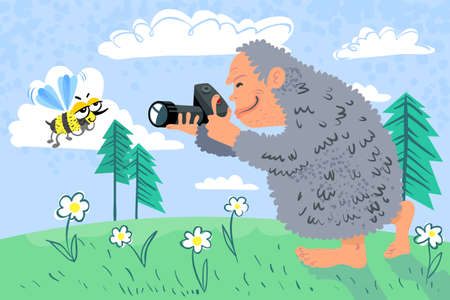 yeti: Summer card with yeti photographer Illustration