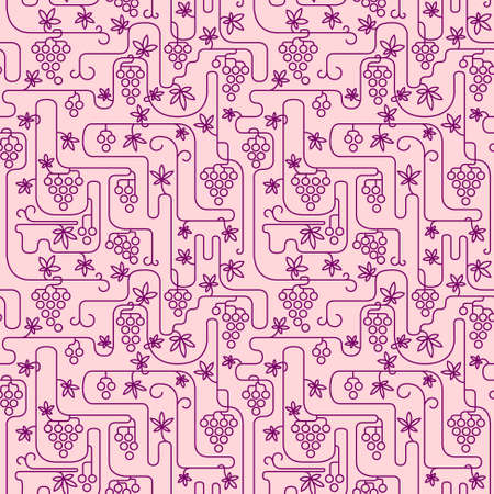 Line art vinegrape seamless pattern Vector