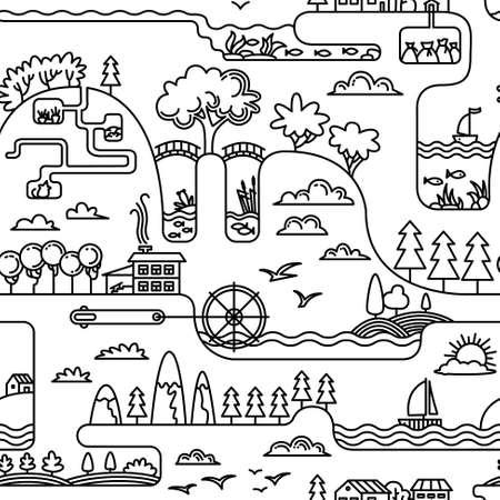 burrow: Doodle landscape simplicity seamless pattern