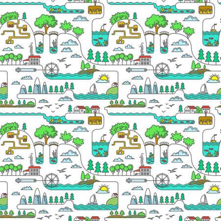 Line art rural landscape seamless pattern Vector