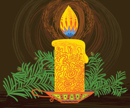 Background with candle and pine branch Vector