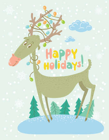 happy holidays: Happy holidays. Greeting Christmas card with deer