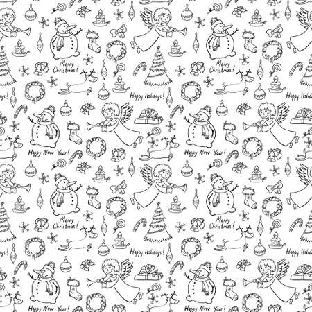 Christmas doodle seamless pattern with angel Vector