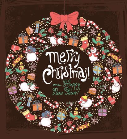 Christmas and New Year background with wreath Vector