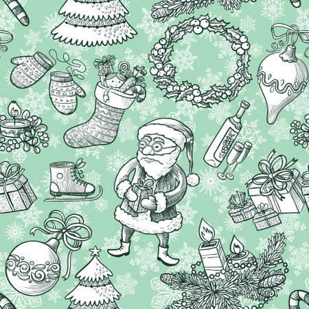 Winter Christmas sketchy seamless pattern Vector