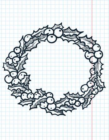Christmas doodle holly wreath Vector