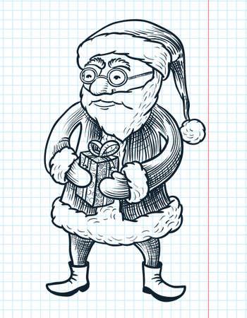 Christmas doodle engraving Santa Claus Vector