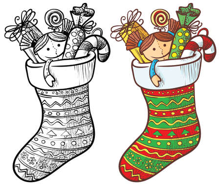 stockings: Christmas stocking with gifts, color and doodle version
