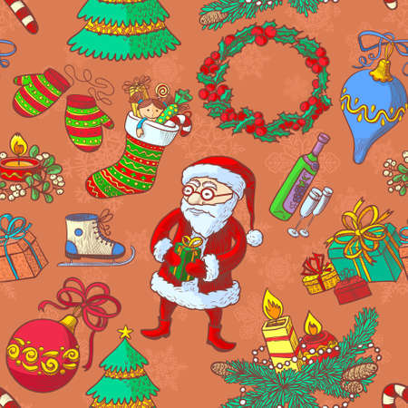 stuff toys: Winter Christmas sketchy seamless pattern