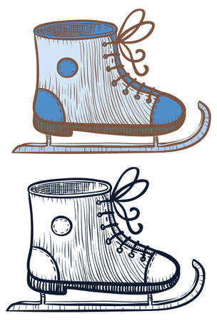 iceskating: Doodle and color ice-skating shoe