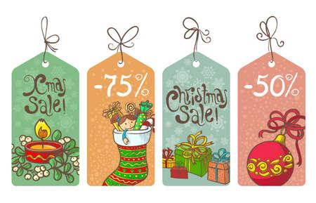 Christmas shopping sale labels set Vector