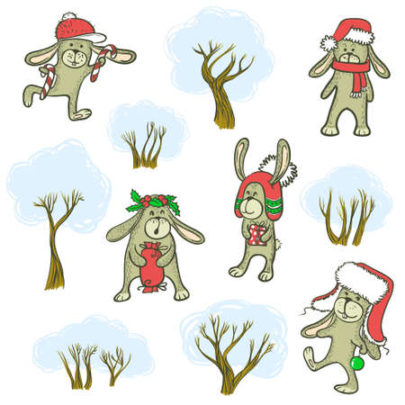 Doodle color rabbits and trees set Vector