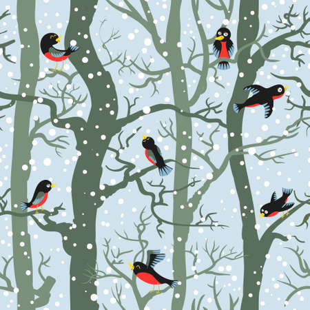 winter forest: Winter forest with birds, seamless pattern Illustration