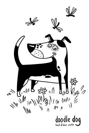 cute dog: Cute doodle hand-drawn dog