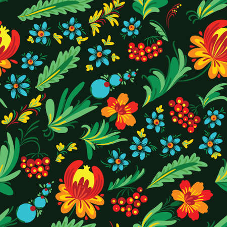 petrikovka: Ukrainian floral dark seamless pattern, called petrikivka (petrikovka)