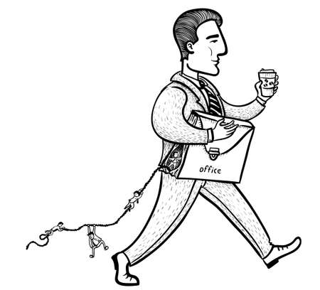 run away: workers run away from the office