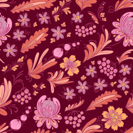 fancywork: Hand-drawn floral doodle seamless pattern