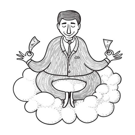 Businessman meditating about money, doodle version Vector