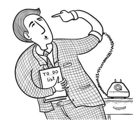 old telephone: Businessman with old telephone (want to do well do it yourself) Illustration