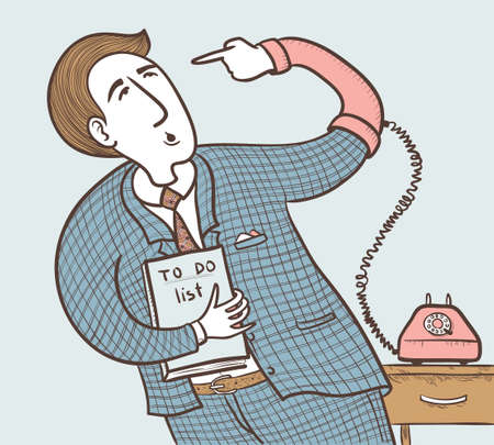 do it yourself: Businessman with old telephone (want to do well do it yourself). color version Illustration