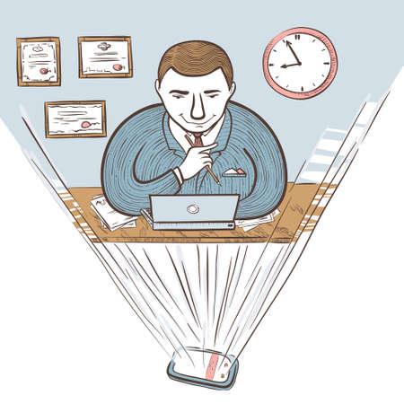 director de escuela: empresario hologr�fica en el lugar de trabajo en la oficina