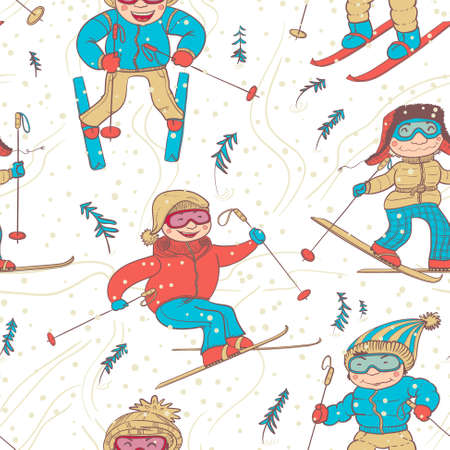 ski traces: Cute doodle skiers seamless pattern