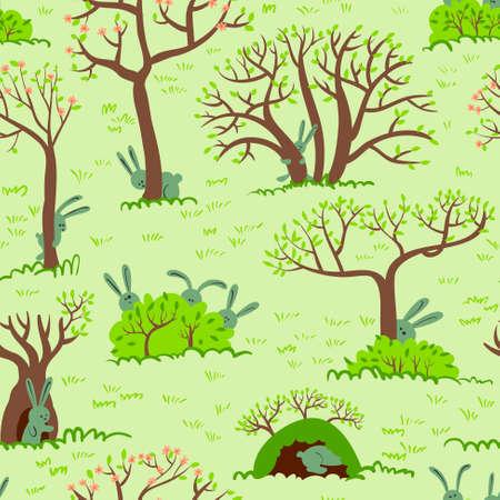 rabbit hole: Spring seamless pattern with rabbits Illustration