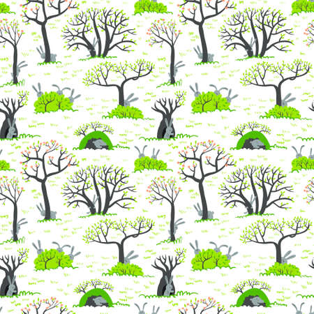 the rabbit hole: Spring seamless pattern with rabbits Illustration