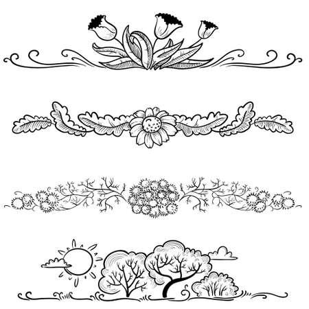 Floral spring graphic design elements set Vector