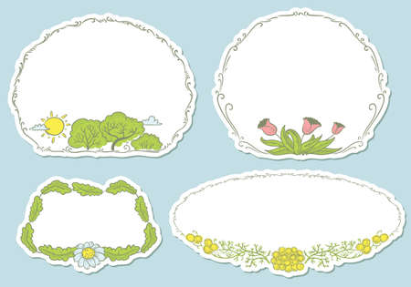 Floral spring stickers set Vector