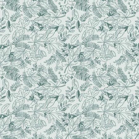 monochrome: Doodle leaves monochrome seamless pattern