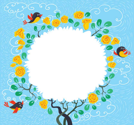 spring time: Floral blossoming spring tree with birds. Spring time card Illustration