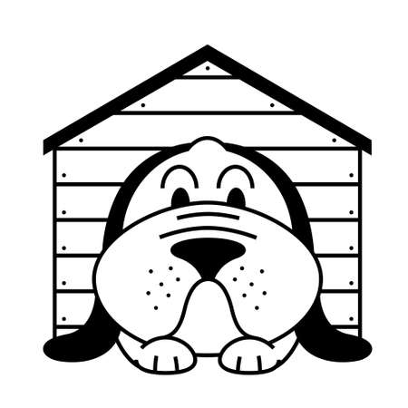 dog kennel: icon with lying in a kennel dog Illustration