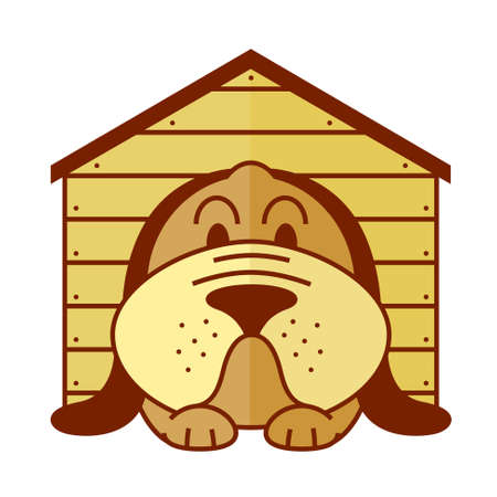 lying in: icon with lying in a kennel dog Illustration