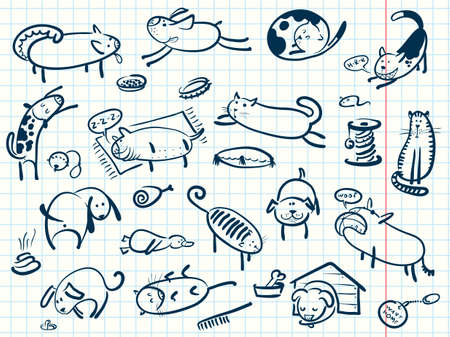 veterinary symbol: Doodle cartoon cats and dogs set