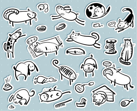 poo: Stikers set with cats and dogs