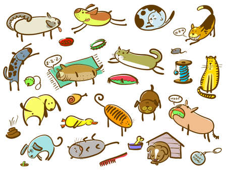poo: Doodle cartoon cats and dogs set (color version)