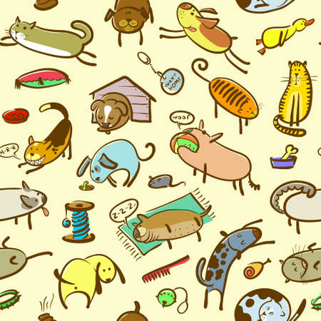 Cute doodle seamless pattern with cats and dogs Vector