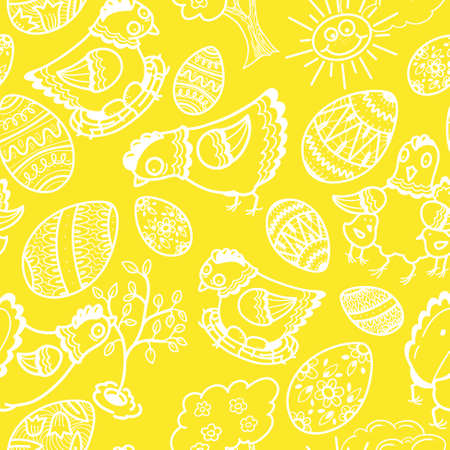 Easter seamless pattern with chickens and eggs. Vector