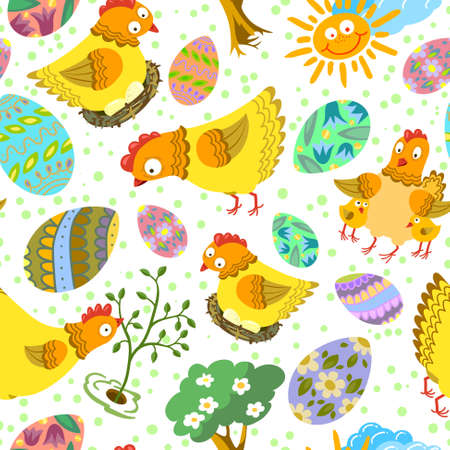 chikens: Cute color easter seamless pattern with eggs and chikens Illustration