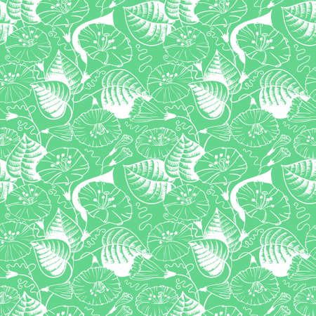 convolvulus: Green and white floral doodle seamless pattern